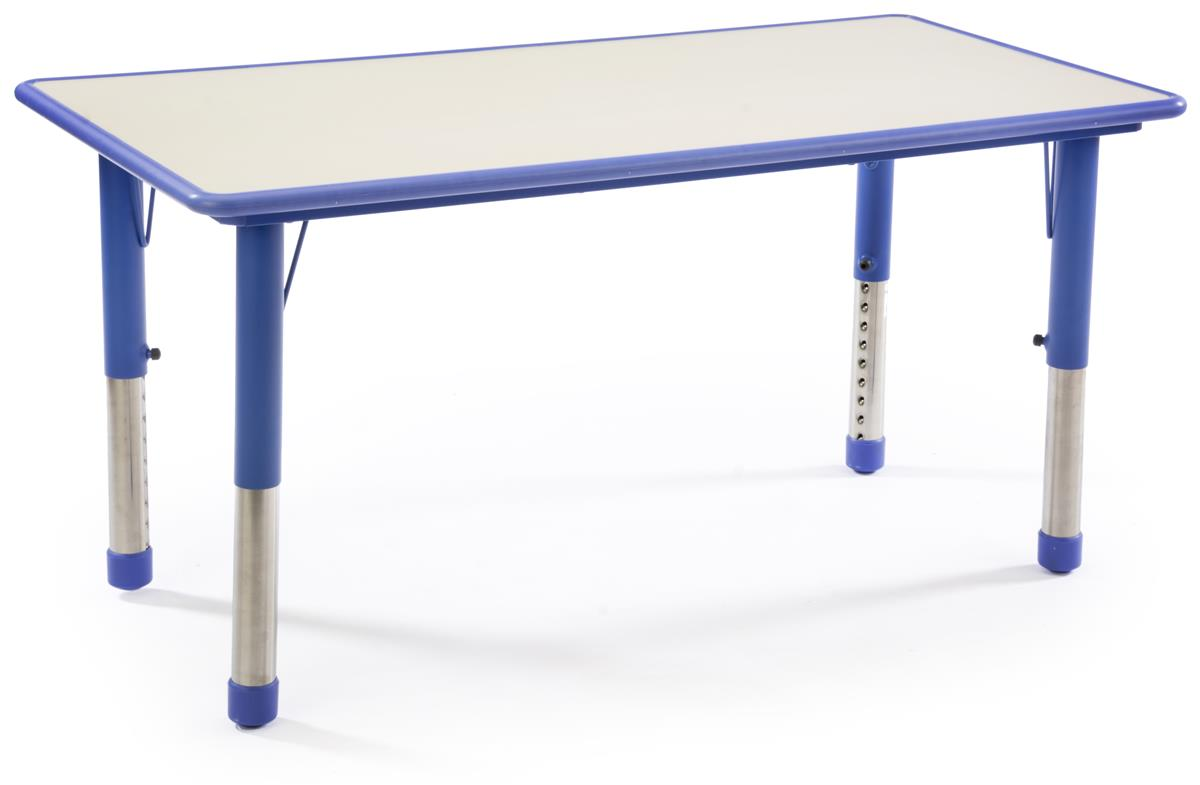 Blue height adjustable kids table rounded edges for safety for Solidworks design table zoom