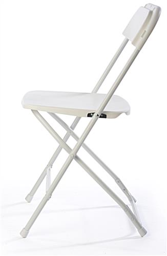 White Plastic Folding Chair with Slim Profile