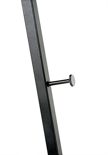 Floor standing folding easel with steel pegs