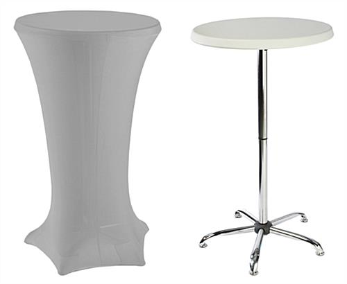 Tall Cocktail Tables with Silver Covers Sold as a Kit