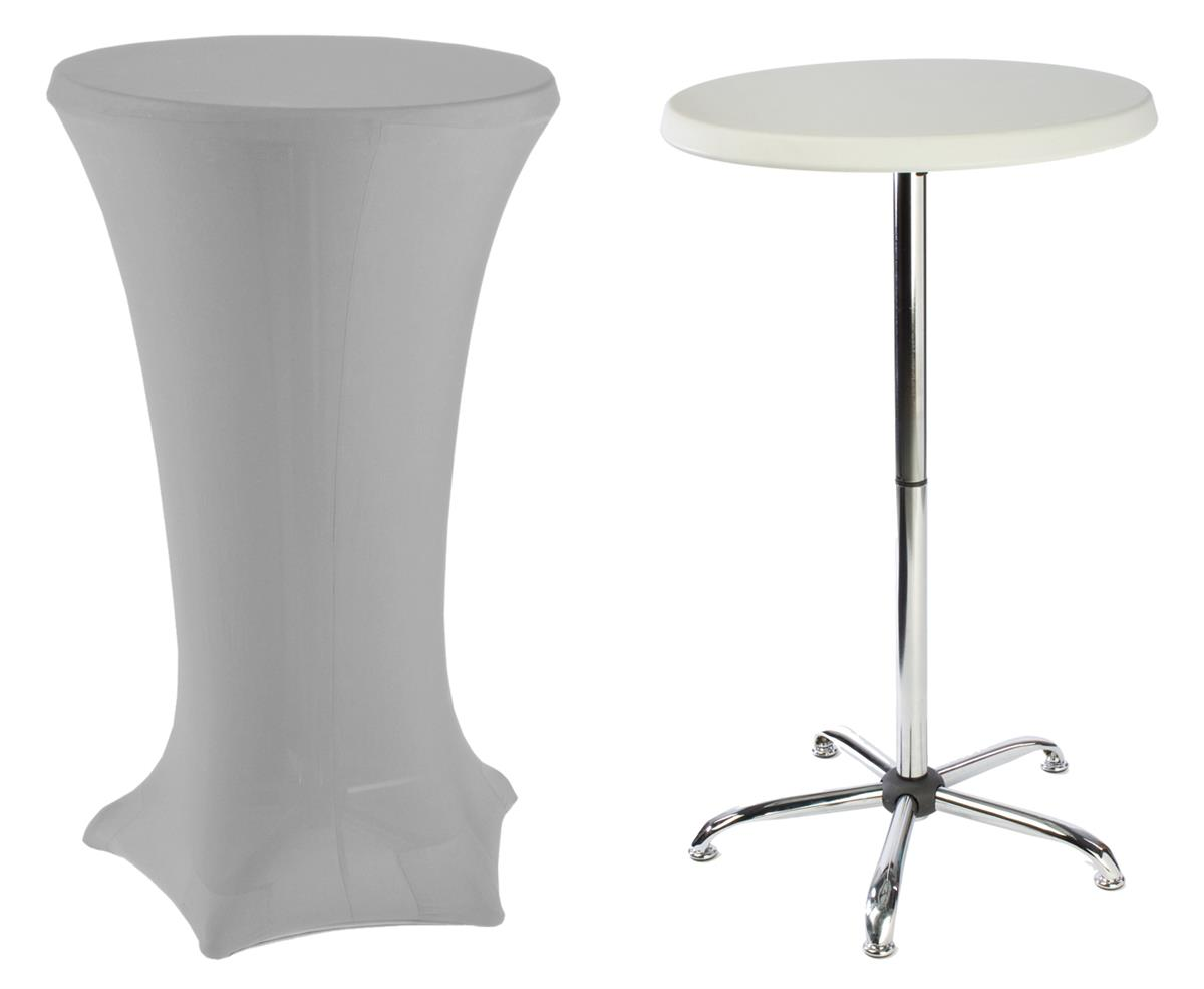 Tall Cocktail Tables With Silver Cover Casual Elegant