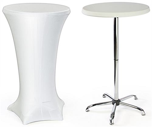 Cocktail Table with White Spandex Cover