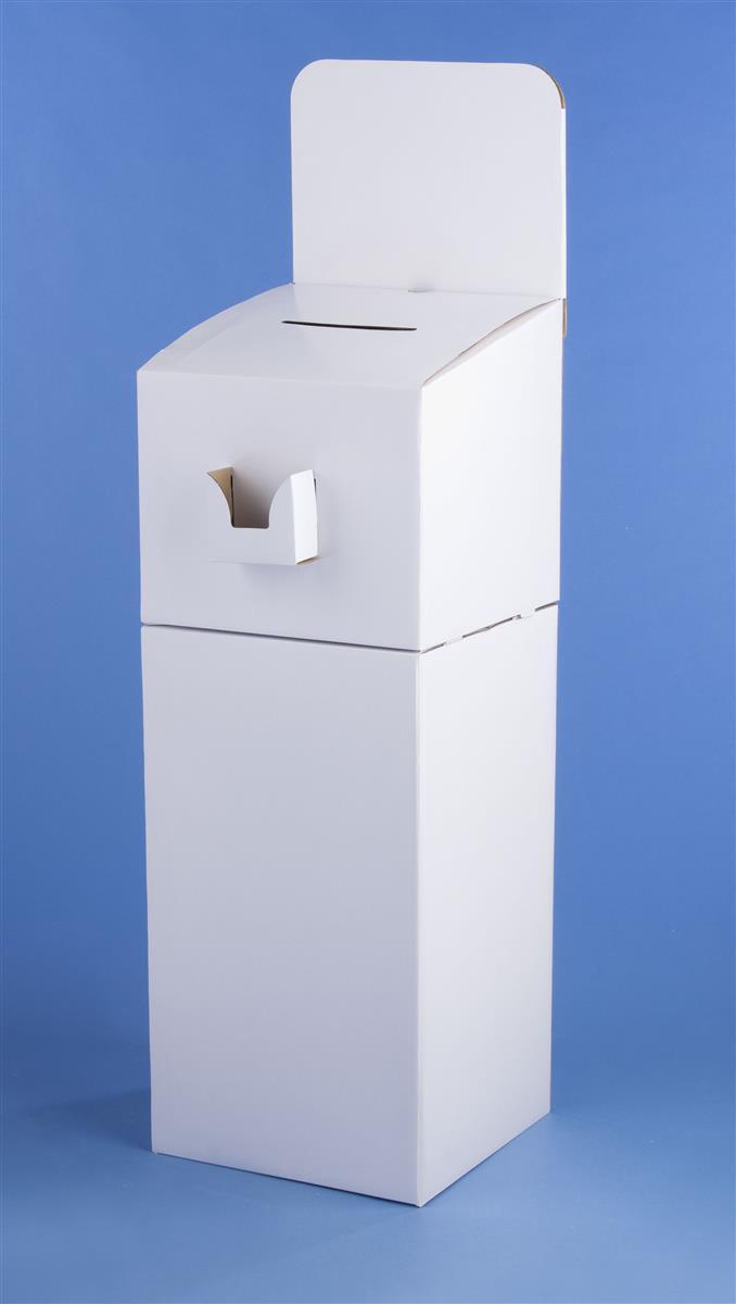 Displays2go Cardboard Ballot Box w/ Pocket, Floorstanding...