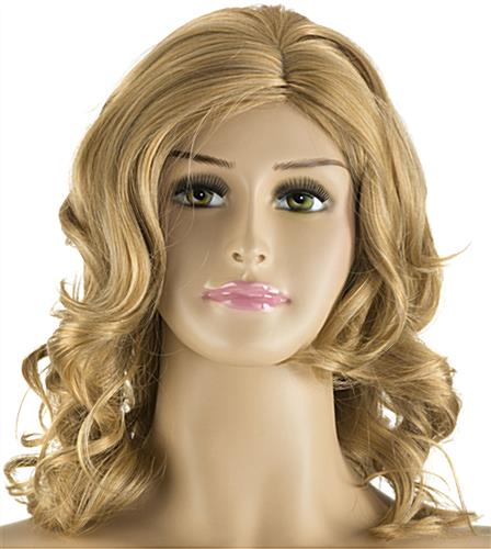 Plus Size Mannequin with Long Blonde Wig Made of Synthetic Fibers