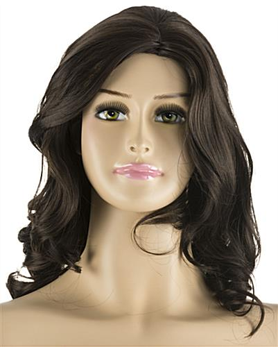 Plus Size Mannequin with Long Brown Wig & Painted Facial Features