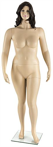 Proportional Plus Size Mannequin with Long Brown Wig
