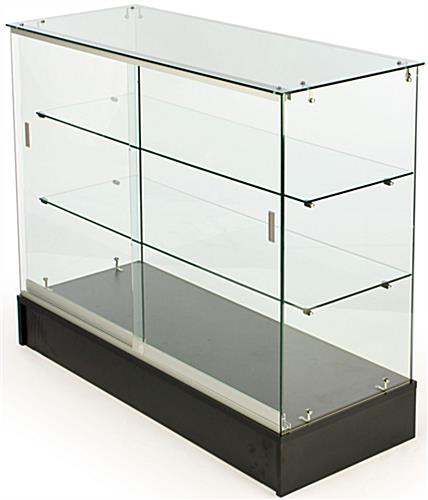 4' Glass Counter With Black Melamine Base