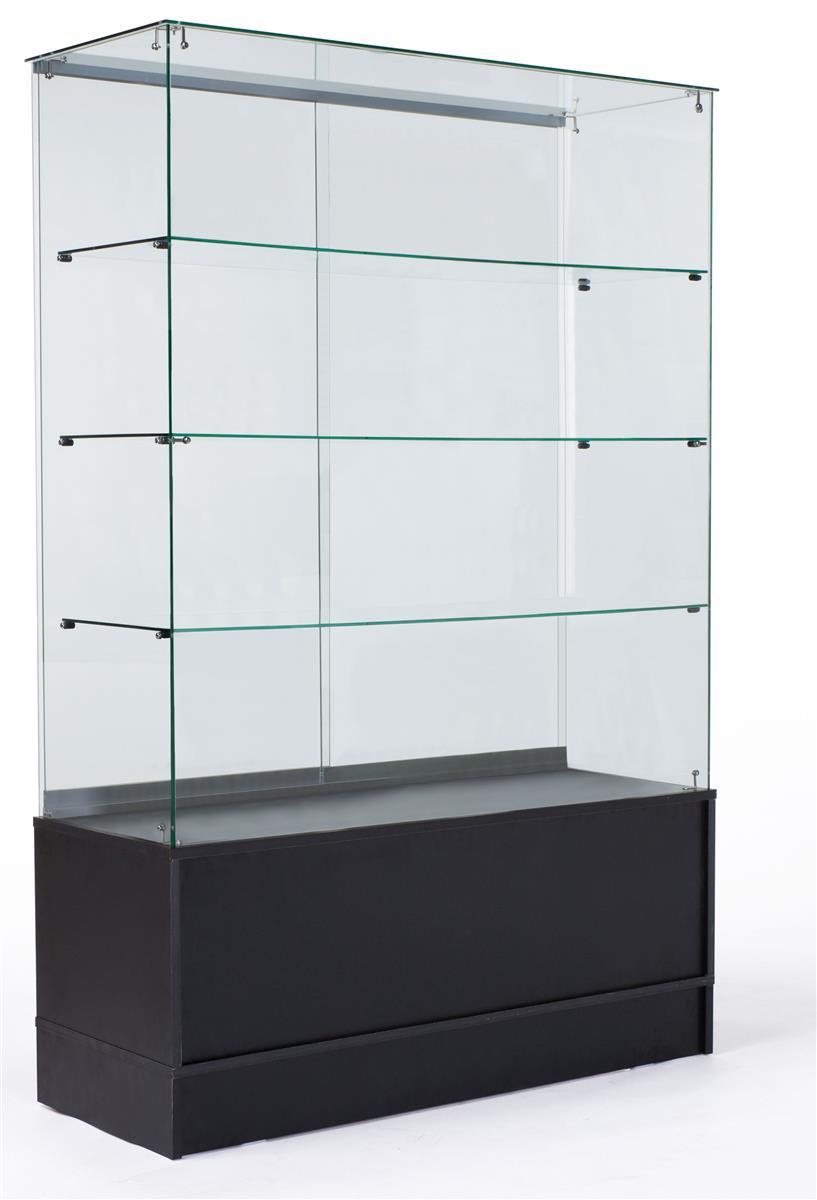 Free Standing Display Case Frameless Design W Storage Base