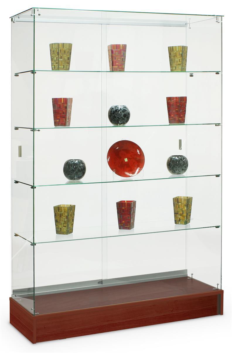 full vision glass displays cherry laminate display case. Black Bedroom Furniture Sets. Home Design Ideas