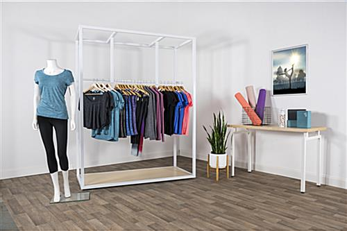 Boutique floor clothing hanger display with MDF base