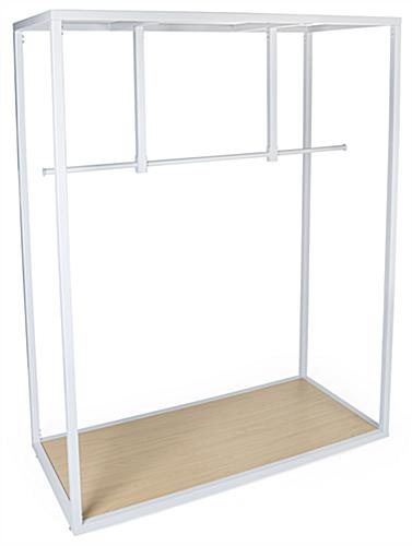 Partitioned rail boutique floor clothing hanger display