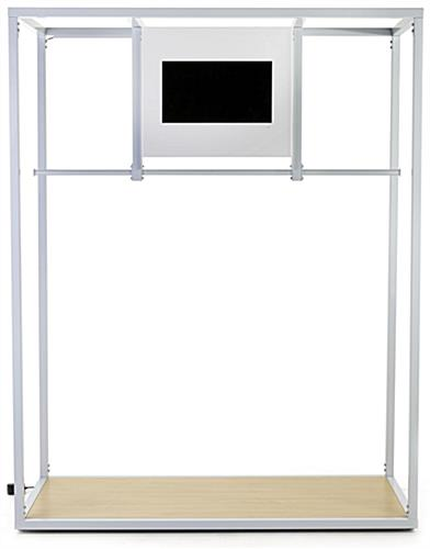 Partitioned clothing rack with video screen and steel construction