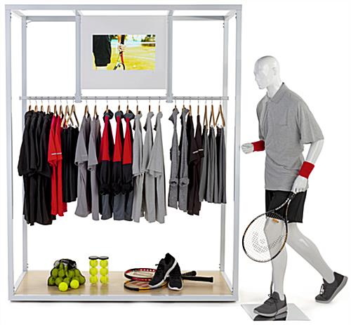 Clothing rack with video screen and open concept design