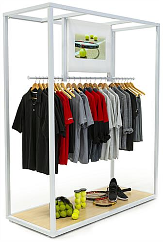 Metal framed clothing rack with video screen and multiple inputs for media