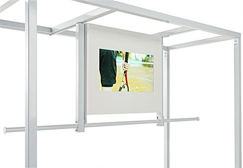 Clothing rack with video screen features 1920 x 1080 pixel resolution