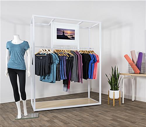 Clothing rack with video screen and minimalistic design aesthetic