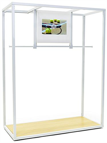 White 84 inch tall clothing rack with video screen