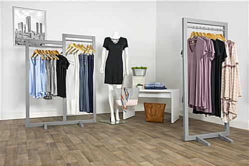 Box Frame Clothing Hanger Stands with 2 Feet