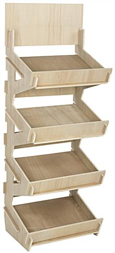4 Bin Wooden Floor Stand Unfinished Shelves For Paint
