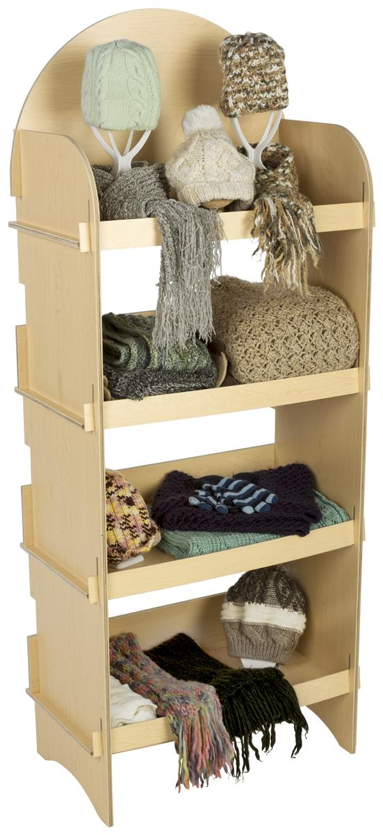 Four Shelf Wooden Display Freestanding Knock Down