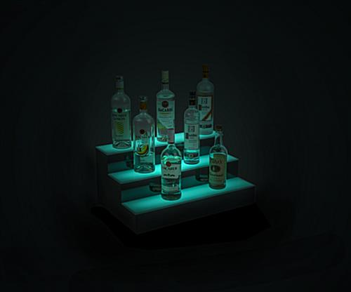 lighted bottle display runs for up to 12 hours
