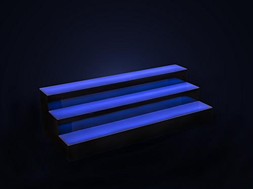 tiered LED bar shelf displays with swappable colors