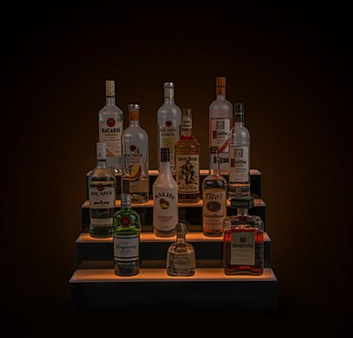 LED lighted liquor display with gentle colored glow