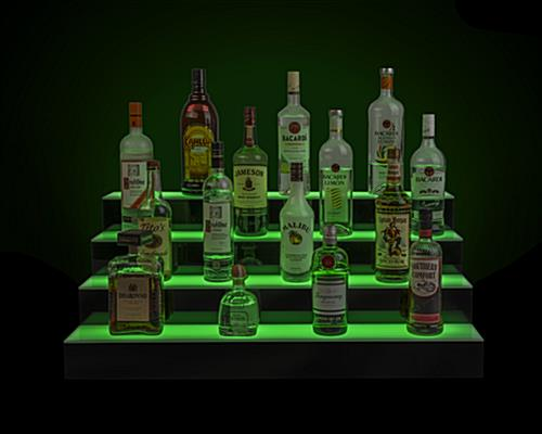 LED illuminated bar shelving with gentle glow