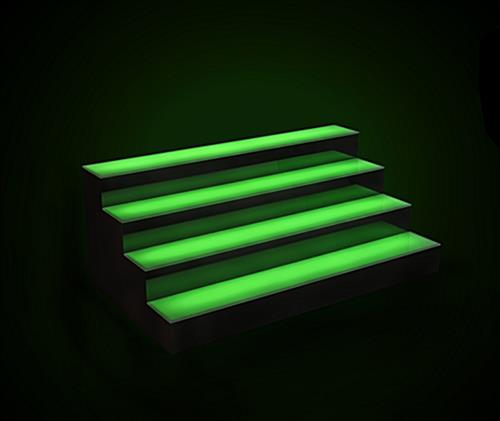 LED illuminated bar shelving with multiple light modes