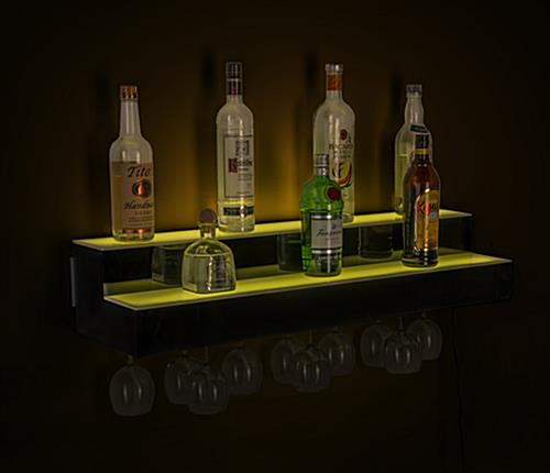LED illuminated liquor shelves with 12 hour rechargeable battery