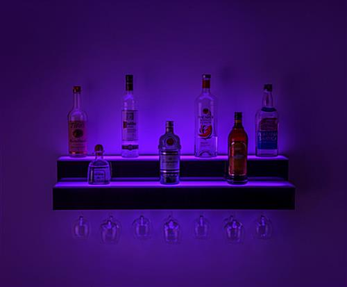 glowing LED illuminated liquor shelves