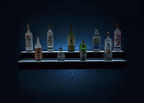 tiered LED liquor speed rack with soft lighting