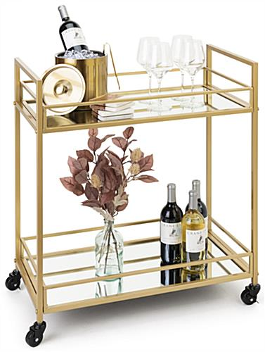 French trolley bar cart with 2 locking and 2 non locking wheels