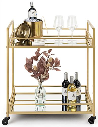 28 inch wide french trolley bar cart with rectangular shape