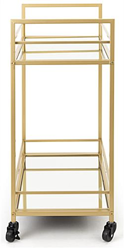 French trolley bar cart measures 28 inches wide by 31 inches tall and 15 inches deep