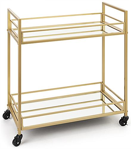 Metallic french trolley bar cart with locking caster wheels