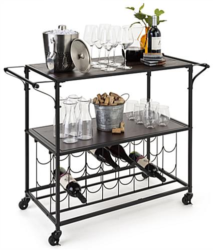 Two-tiered liquor cart with wine rack includes dark brown wooden shelving