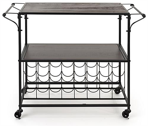 31 inch tall liquor cart with wine rack features two metal handles