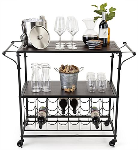 Portable liquor cart with wine rack includes 4 caster wheels