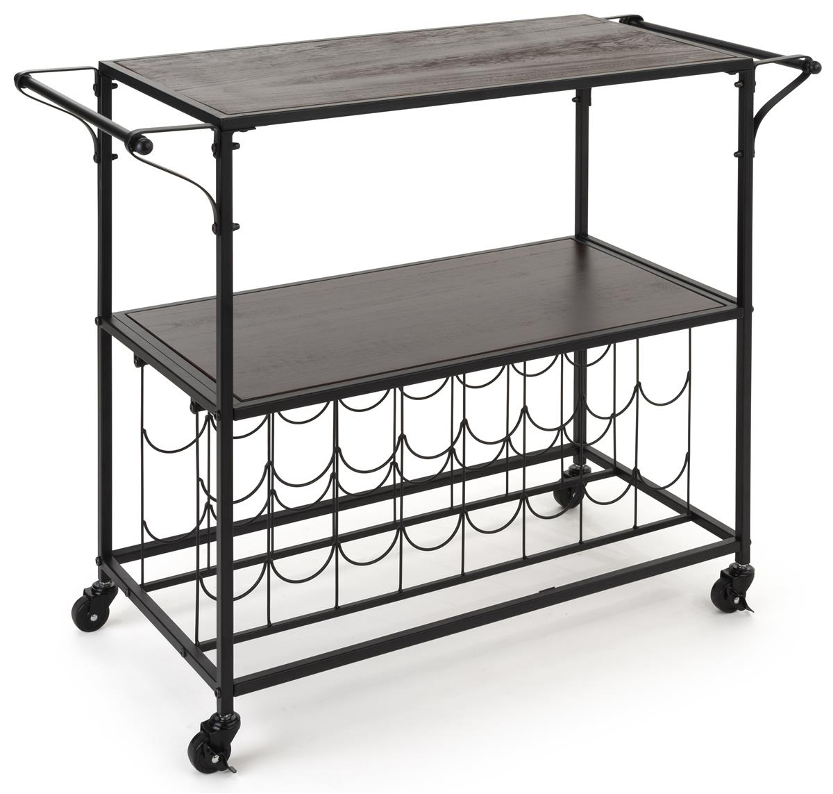 41 inch wide liquor cart with wine rack features a rectangular shape