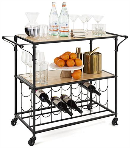 Liquor cart with wine rack includes two locking and non locking wheels