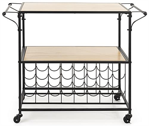 41 inch wide liquor cart with wine rack holds 16 bottles