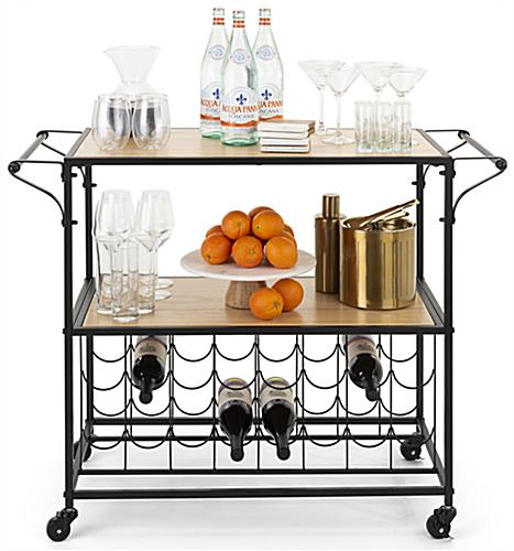 31 inch liquor cart with wine rack with 2 non locking caster wheels