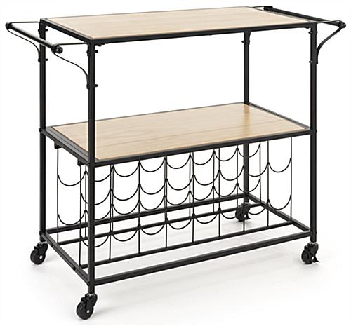 Liquor cart with wine rack and 16 sections for bottles