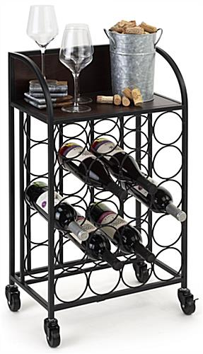 17 x 28 wine rack with wheels and rectangular shape