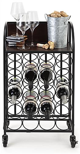 Wine rack with wheels and wooden shelf that holds 44 pounds of weight