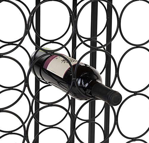 Wine rack with wheels and matte black iron metal frame