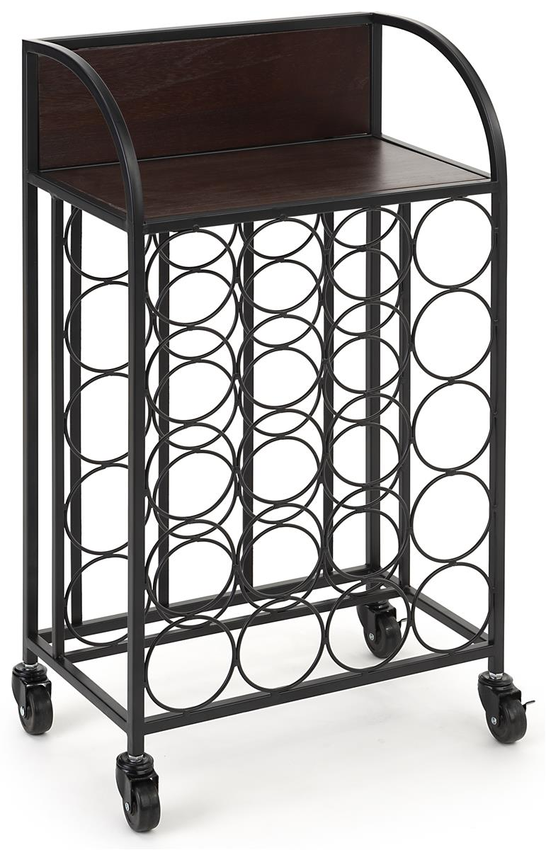 Wine rack with wheels and dark brown wood shelving