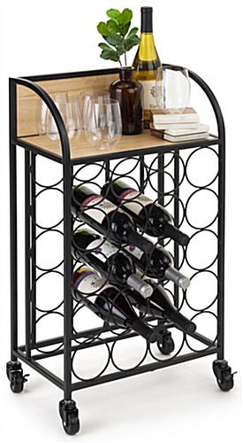 Wine rack with wheels measures 17 inches wide by 28 inches tall