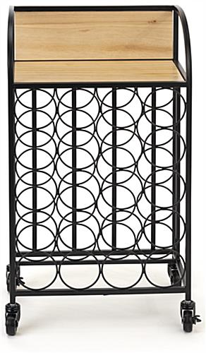 Easy to assemble wine rack with wheels and matte black iron frame